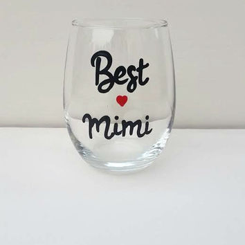 Best Mimi Hand-painted stemless wine glass