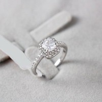FM42 Silver-tone Princess Cut Clear Crystal Engagement Style Ring R77 Size 5