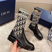 Dior CD embroidered mid-tube high-tube women's boots flying knit fashion knight boots ladies fashion boots