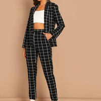 Grid Print Blazer & Pants Set