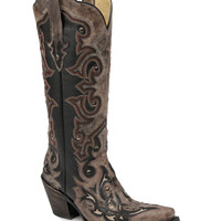 Corral Women's Black/Brown Inlay and Studs Boot - G1069