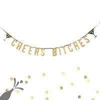 Cheers Bitches Gold Bachelorette Party Gold Glitter Banner Wedding Party Decor