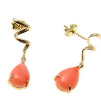 GENUINE NATURAL PINK CORAL DANGLE EARRINGS SOLID 14K YELLOW GOLD