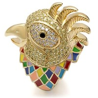 Carnival Rooster Multi Color CZ Gold Ring