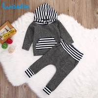 Wisefin Hooded Newborn Clothing Boy Striped Gray Long Sleeve Infant Outfits Set 2 Piece Fashion Winter Toddler Baby Boy Clothes