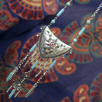 Timeless Treasures Antique Silver & Turquoise Plated Necklace