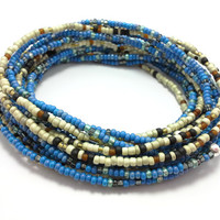 Seed bead wrap stretch bracelets, stacking, beaded, boho anklet, bohemian, stretchy stackable multi strand, blue white ivory black brown
