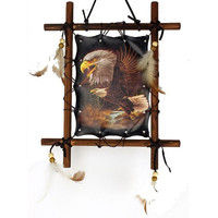 Wood Frame Dream Catcher Eagle Wall Hanging with Feathers