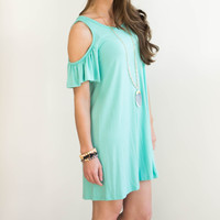 Santa Barbara Off the Shoulder Dress- Mint