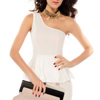 One-Shoulder Double Layered White Peplum Dress