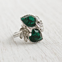 Vintage Emerald Green Stone Heart Ring - Signed Sarah Cov 1970s Silver Tone Adjustable Rhinestone Costume Jewelry / Double Heart Love Story