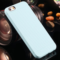 Light Blue Fashion Honeycomb Dot Style Soft Silicone Phone Back Cover Case Shell For iPhone 6/6s 4.7 inch