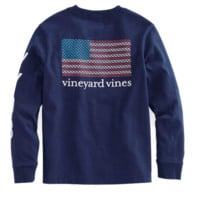 Vineyard Vines Long Sleeve Mini Whale Flag Tee- Deep Bay