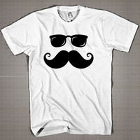 Funny Moustache And Sunglasses Face  Mens and Women T-Shirt Available Color Black And White