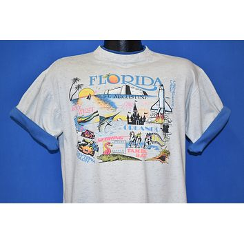 90s Florida Tourist Map Roll Up Sleeve t-shirt Large