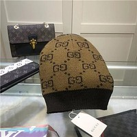 GG men's and women's double G knitted wool hat