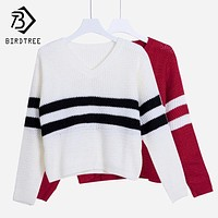 4 Colors!Spring Autumn Women Sweaters Pullovers V-neck Crop Tops Striped Long Sleeve Knitted Sweater Roupas Femininas T4N510