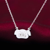 Lovely small pig 925 sterling silver necklace,a perfect gift