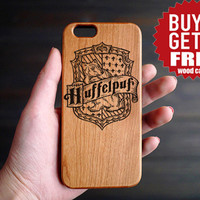 Hufflepuff Cherry Wood One Piece iPhone 6 6s Case , Custom iPhone 6s 6 Case Wood , Wood Phone Case for iPhone 6 6s , Valentine's Gift