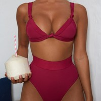 Knot Mad About It Knot Front Bikini Top in Berry Pink