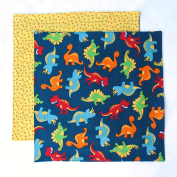 Kids Cloth Napkins Lunch Dinosaurs by SticksNStonesGifts on Etsy