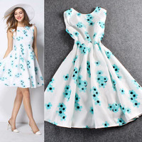 White Sleeveless Petals Digital Print  A-Line Swing Dress