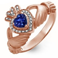 Kay - Lab-Created Sapphire Heart Claddagh Ring Rose Gold