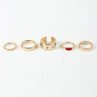 Lip and Rhinestone Stackable Ring