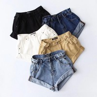 Denim shorts female roll side high waist wide leg pants summer wind loose cuffed denim shorts tide