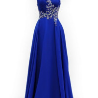 KC131515 Blue A-Line 1 Shoulder Prom Dress by Kari Chang Couture