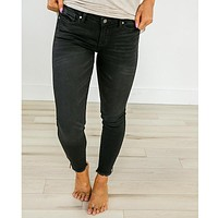 Black Non-Distressed Zipper Accent Jeans