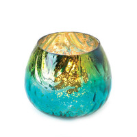 Vibrant Iridescent Peacock Inspired Mercury Glass Candle Holder