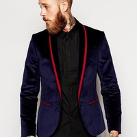 Noose & Monkey | Noose & Monkey Velvet Blazer With Lapel Taping In Skinny Fit at ASOS