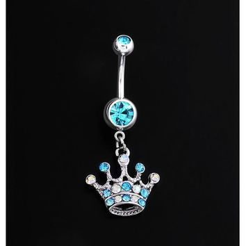 Accessory Crystal Diamonds Crown Belly Ring [6768808071]