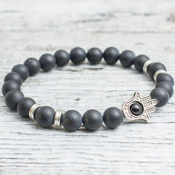 Matte black beaded silver Hamsa hands stretchy bracelet, made to order yoga bracelet,  mens bracelet, womens bracelet