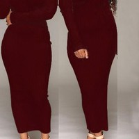 Date Red Backless Boat Neck Long Sleeve Slim Maxi Dress