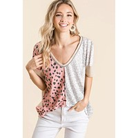 """Wild and Crazy"" Waffle Double Print Leopard Top"