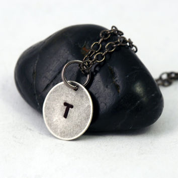 Small Initial Charm Necklace - Antiqued Silver Letter Necklace