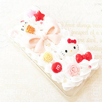 Clear iPhone 6 Case - Decoden Phone Case - Hello Kitty Case - Pink Princess Bow - Sweets Deco, Roses, Candy, Hime, Kawaii -  Whipped Cream