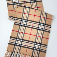 Beige Checked Fringe Scarf