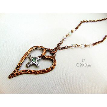 For The Love Of God -  Copper Heart & Sterling Silver Cross Blue Topaz  Necklace