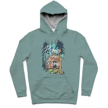 Home Sweet Home Trendy All-Over Print Solid Juniper Hoodie