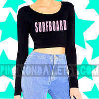 Surfboard Beyonce Crop Top with Pink Letters Drunk in Love Long Sleev Shirt Top Blouse Scoopneck Cotton Womens Girls [ Small Medium Large]