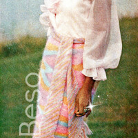 Ladies Skirt for Summer Wear Long SKIRT KNITTING Pattern Vintage 70s Sizes 8-10, 12-14, 16-18 Rainbow Ombre - Pdf Pattern - INSTANT Download