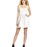 Guess Sleeveless Fit-and-Flare Dress - White
