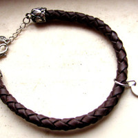 Braided Leather Bracelet with Handstamped Initial- Monogram Bracelet- Personalized Bracelet- Bohemian- Dark Brown- Woodland- Rustic
