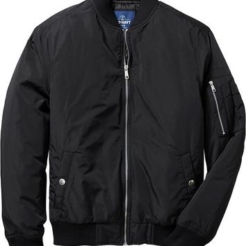 Men's Faux-Nylon Bomber Jackets