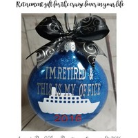 Personalized Retirement Gift - Cruise Lover Glitter Xmas Tree Ornament Hanging Bulb with Ribbon Great gift with Box Included