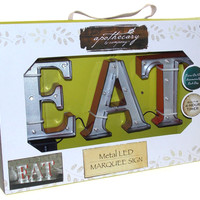 Metal LED EAT Marquee Light Up Sign Apothecary & Company 4.5 Inch Wall Decor Red