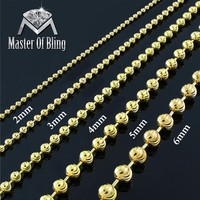 """Moon Cut Bead Necklace 925 Silver 2mm-6mm Classy 16""""-40"""""""